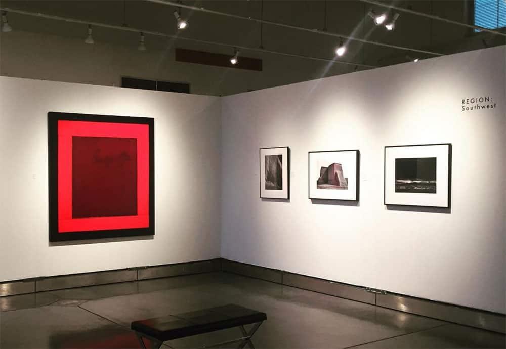 "Harold Joe Waldrum with Ansel Adams in ""Napa Valley Collects"" exhibition"