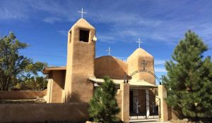 the adobe church at Cañon New Mexico