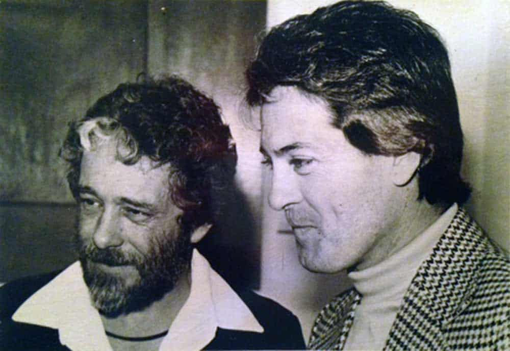 artist Harold Joe Waldrum with his brother Whitt Waldrum - window paintings at Blair Galleries in Santa Fe 1979
