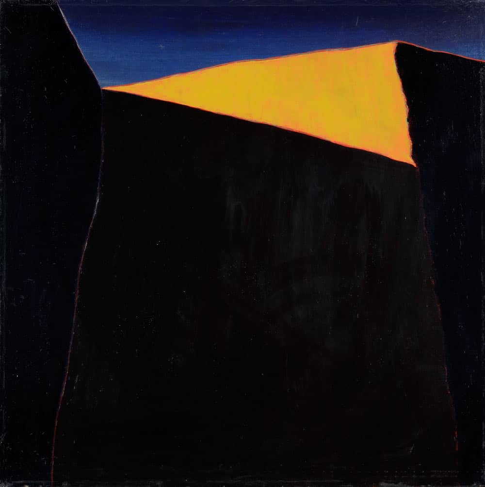 "Upper Edge of the Church at Ranchos de Taos, Harold Joe Waldrum, 27 x 27"" acrylic on canvas"