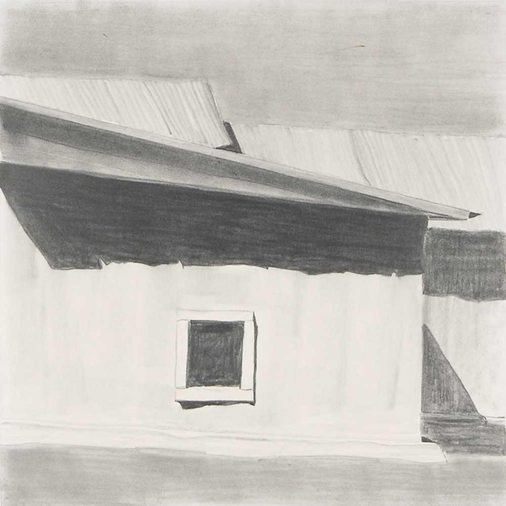 detail of Harold Joe Waldrum's graphite study for his aquatint etching of the church at Ojo Sarco