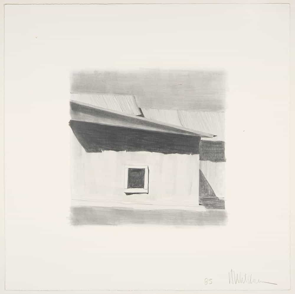 Harold Joe Waldrum's graphite study for his aquatint etching of the church at Ojo Sarco