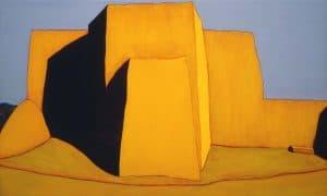 "Harold Joe Waldrum church painting - Ranchos con cielo gris - 30.5 x 50"" acrylic on canvas"