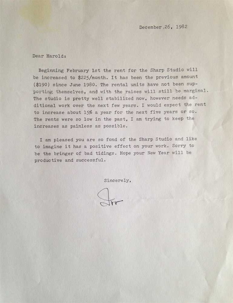 December 1982 letter from Irving Couse to Harold Joe Waldrum