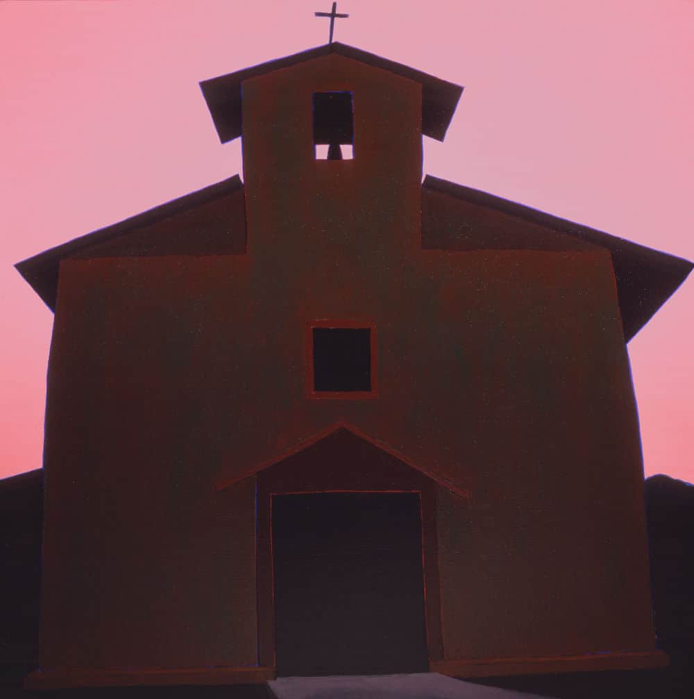 Harold Joe Waldrum - painting of the church at Cordova New Mexico