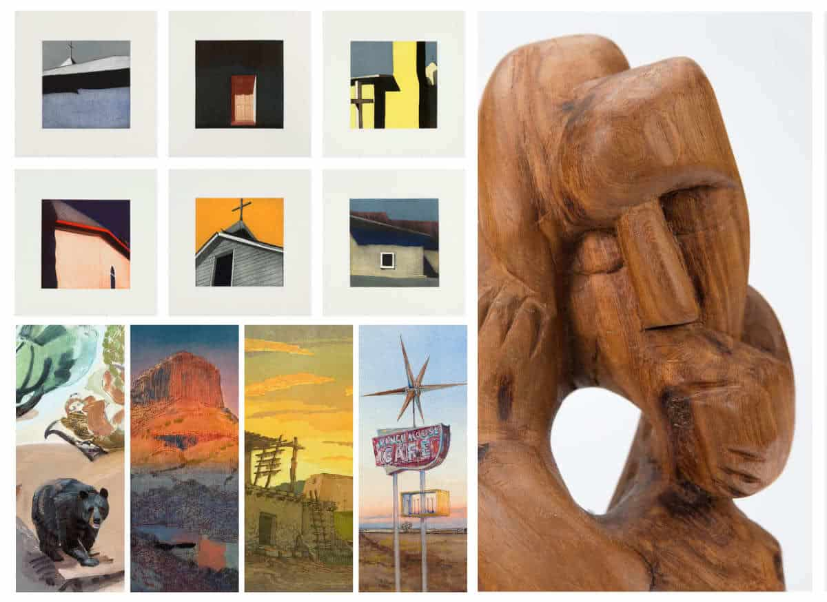 Waldrum, Barela, and four living artists showing at Gerald Peters Gallery in the summer of 2019