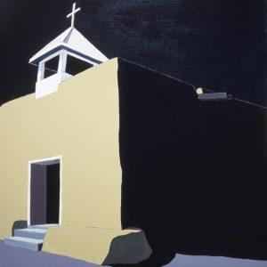 Harold Joe Waldrum painting of the adobe church at Llano Quemado