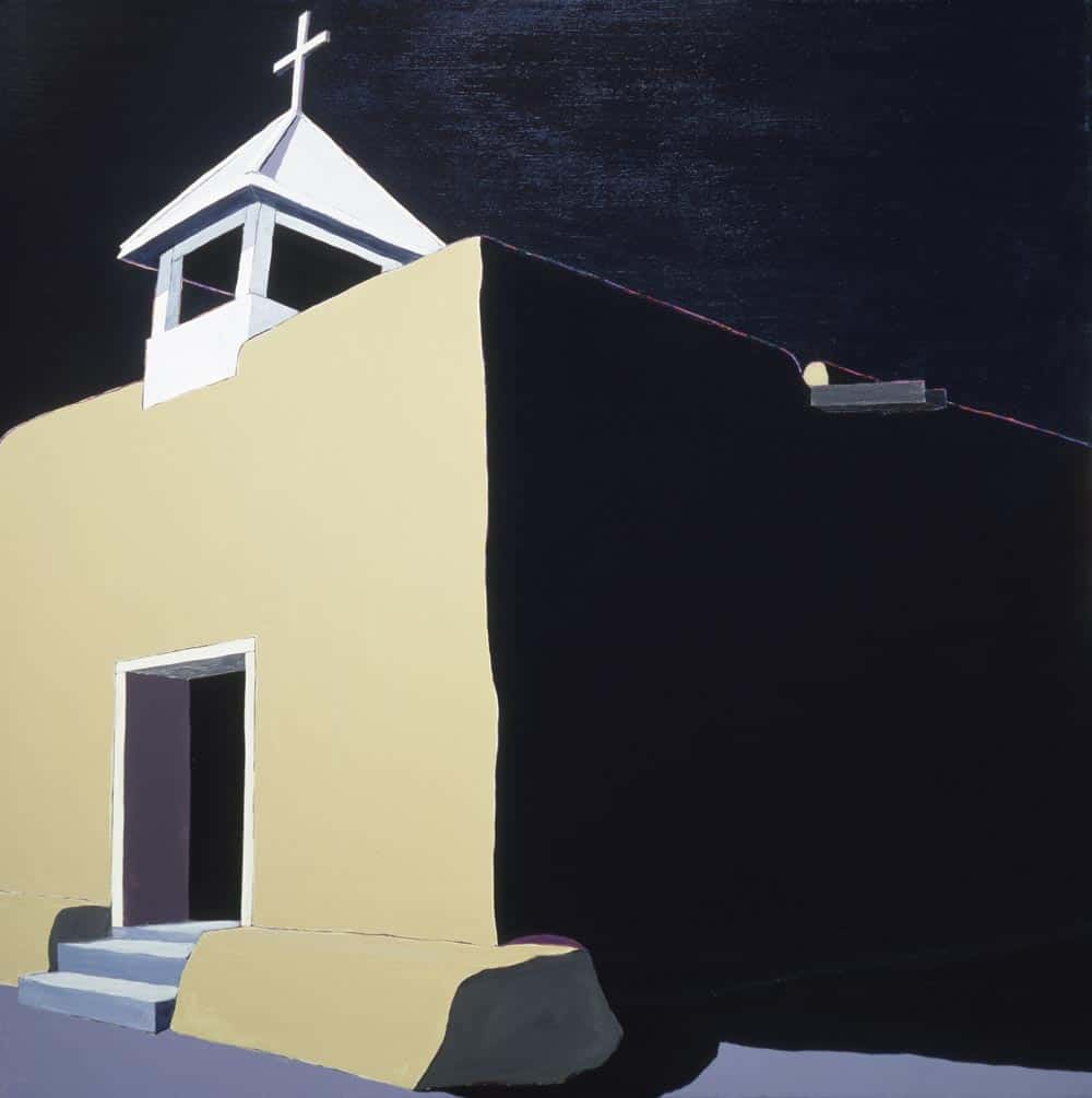 Harold Joe Waldrum painting of the adobe church at Llano Quemado