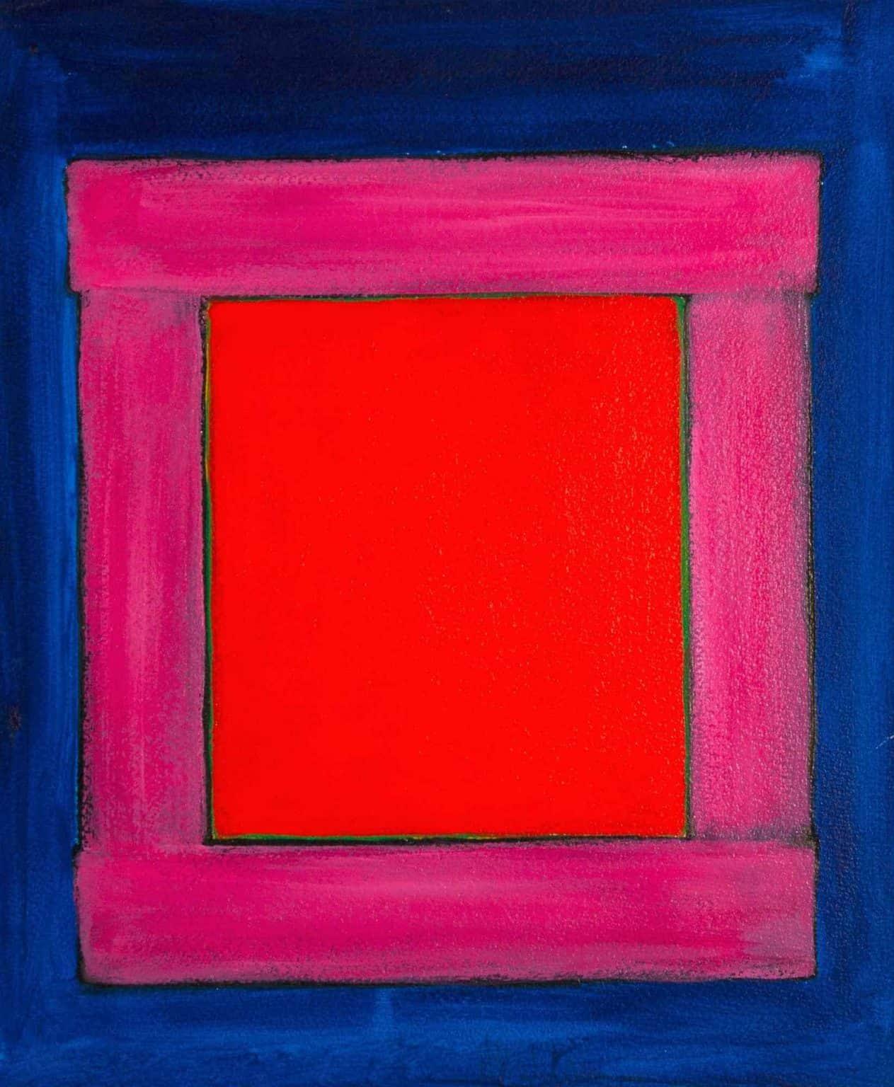 "Harold Joe Waldrum, early window painting, acrylic on paper mounted on canvas, 18 x 15"""