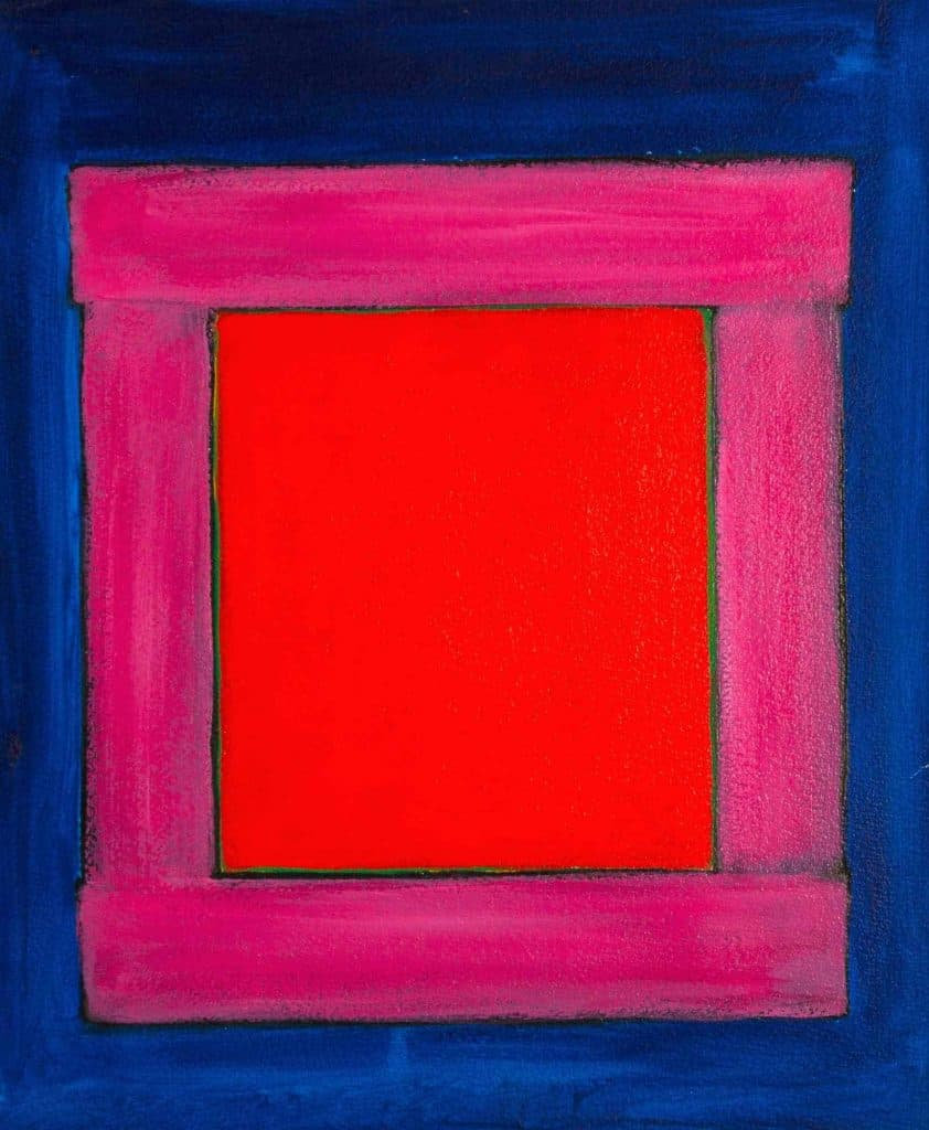 Harold Joe Waldrum, early window painting, acrylic on paper mounted on canvas, 18 x 15""
