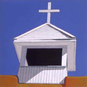 Harold Joe Waldrum, Bell Tower, Llano Media Día, acrylic on canvas, 1988